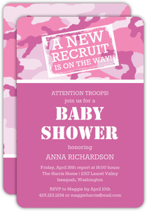 Camouflage Pink Baby Shower Invitation