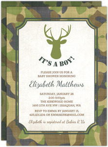 Camo Deer Boy Baby Shower Invitation