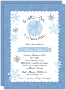 Blue Baby Deer Winter Baby Shower Invitation