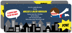 Blue Super Hero Baby Shower Invitation