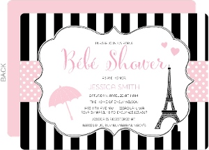 Paris And Pattern Baby Shower Invitation