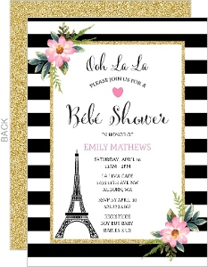 Pink Floral And Faux Glitter Baby Shower Invitation