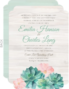 Rustic Watercolor Succulents Wedding Invitation