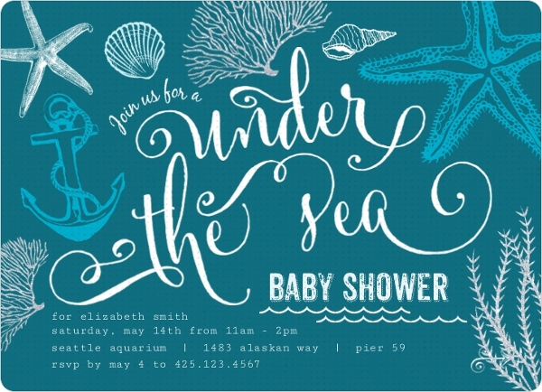Turquoise ocean baby shower invitation girl baby shower invitations turquoise ocean baby shower invitation filmwisefo
