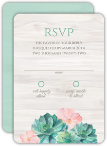 Rustic Watercolor Succulents Wedding Response Card