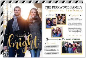 Bright Faux Foil Timeline Year in Review Holiday Card