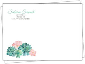 Rustic Watercolor Succulents Custom Envelope