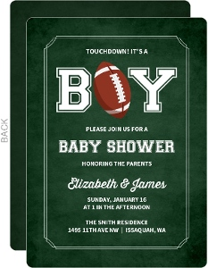 Its A Boy Football Baby Shower Invitation