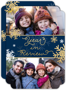 Navy and Gold Snowflakes Best Moments Holiday Card
