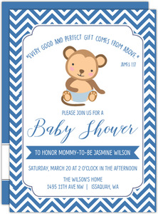 Blue Little Monkey Baby Shower Invitation