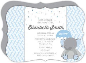 Blue Shower Little Elephant Baby Shower Invitation