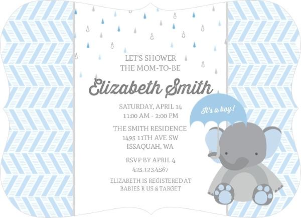 Blue Shower Little Elephant Baby Shower Invitation Boy Baby Shower