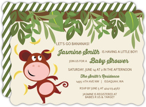 Little Balancing Monkey Baby Shower Invitation