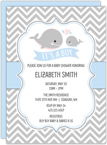 Blue Whale Mom And Baby Shower Inviation