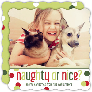 Red and Green Naughty or Nice Pet Photo Card