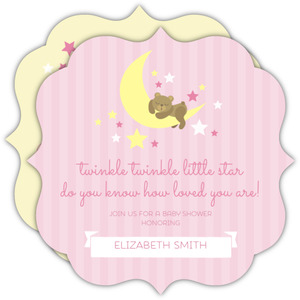Pink Twinkling Little Stars Baby Shower Invitation