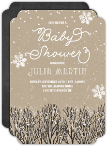Snowy Wintry Kraft Baby Shower Invitation