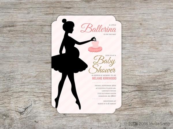 Beautiful ballerina silhouette baby shower invitation baby shower beautiful ballerina silhouette baby shower invitation filmwisefo