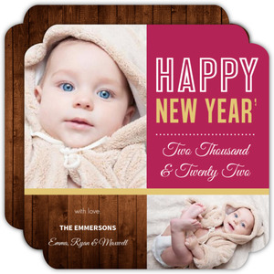 Rustic Ruby Woodgrain New Years Card