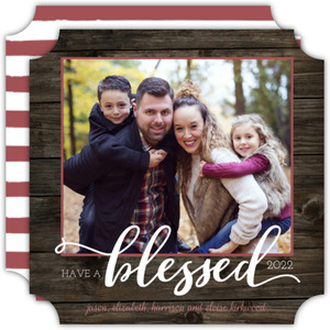 Woodgrain Blessings New Years Photo Card