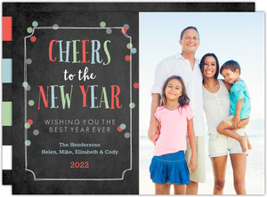 Chalkboard Confetti Cheers New Years Photo Card