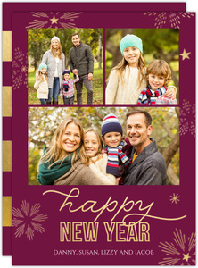 Sparkling Snowflake New Years Photo Card