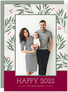 Green Laurel Frame New Years Photo Card