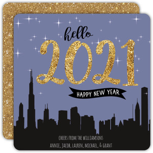 Night Skyline New Years Card