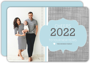 Modern Linen Frame New Years Card