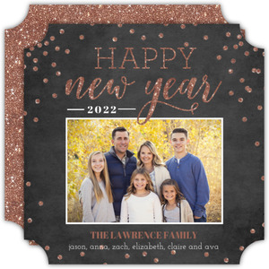 Rose Gold Faux Glitter New Years Photo Card