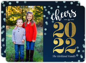 Navy and Gold Foil Cheers New Years Card