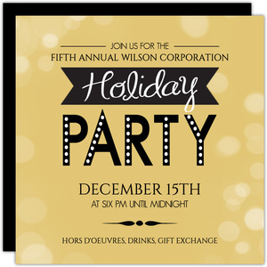 Bold Festive Black Gold Business Holiday Party Invitations