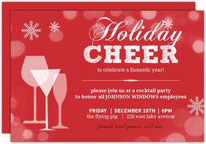Red Snowflakes and Cocktails Business Holiday Party Invitations