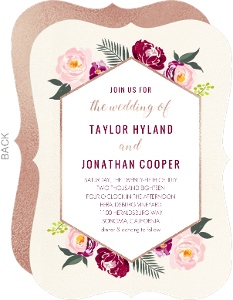 Boho Rose Gold Floral Wedding Invitation