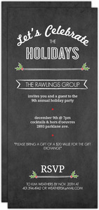 Simple Chalkboard Holly Business Holiday Party Invitation