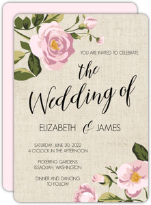 Pink Roses Burlap Wedding Invitation