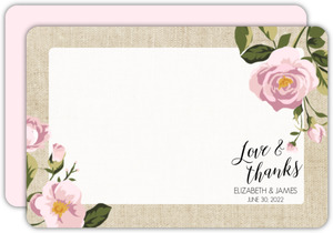 Pink Roses Burlap Thank You Card