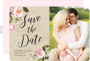 Pink Roses Burlap Save The Date Card