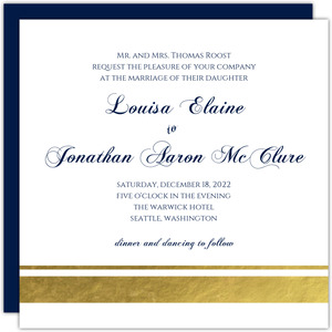 Navy and Gold Foil Stripe Wedding Invitation