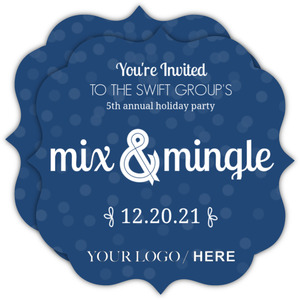 Dark Navy Mix & Mingle Confetti Business Holiday Party Invitation