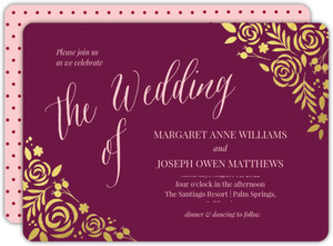 Burgundy Gold Foil Floral Wedding Invitation