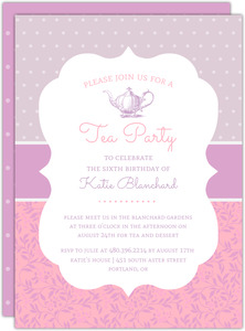 Vintage Frame Tea Party Birthday Invitation