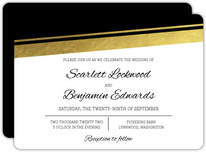 Modern Black and Gold Foil Wedding Invitation