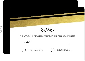 Modern Black and Gold Foil Wedding Response Card