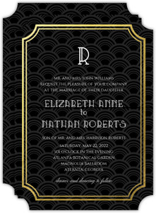 Art Deco Black and Gold Foil Frame Wedding Invitation