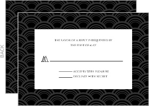 Art Deco Black and Gold Foil Frame Wedding Response Card