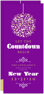 Regal Purple Ball Countdown New Years Party Invitation