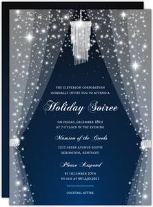 Elegant Sparkly Chandelier Business Holiday Party Invitation