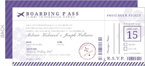 Purple Destination Boarding Pass Wedding Invitation