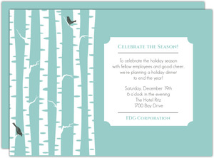 Simple Blue Birch Trees Business Holiday Party Invitations
